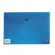 Croxley A4 PVC Envelope With Button Blue