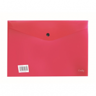 Croxley A4 PVC Envelope With Button Red