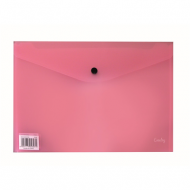 Croxley A4 PVC Envelope With Button Pink