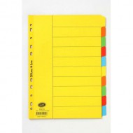 Bantex A4 Board Index Tabs Assorted Colours - 10 Tabs