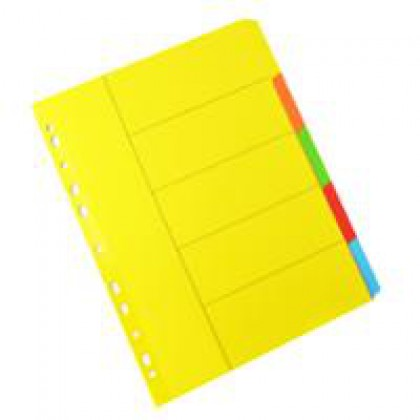 Bantex A4 Board Index Tabs Assorted Colours - 5 Tabs