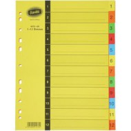 Bantex A4 Board Index Tabs Assorted Colours 1-12