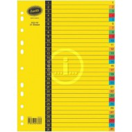 Bantex A4 Board Index Tabs Assorted Colours 1-31