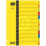 Bantex A4 Board Index Tabs Assorted Colours Jan - Dec
