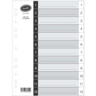 Bantex A4 Board Index Tabs White 1 - 12