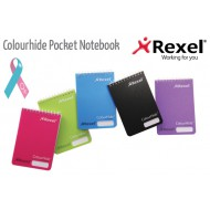 Rexel Colourhide Pocket Note Book 96 Page Pink