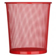 Alba Mesh Round Office Bin Red