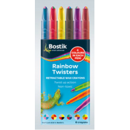 Bostik Rainbow Twister Retractable Crayons 6's
