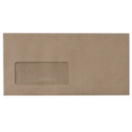 DL Kwik Seal Envelope with Window Brown 500's