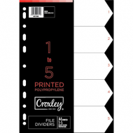 Croxley PP Printed Index Tabs 1 - 5