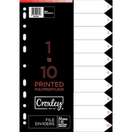Croxley PP Printed Index Tabs 1 - 10
