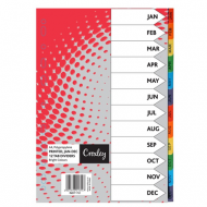Croxley PP Printed Index Tabs Jan - Dec