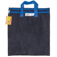 4Kids Denim Library Book Bag With Handle Blue