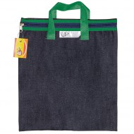 4Kids Denim Library Book Bag With Handle Green