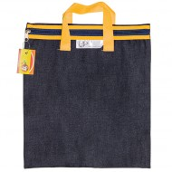 4Kids Denim Library Book Bag With Handle Yellow