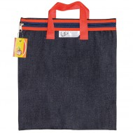 4Kids Denim Library Book Bag With Handle Red