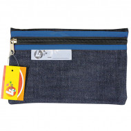 4 Kids Clear Pencil Bag 22cm With Blue Zip
