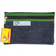 4 Kids Clear Pencil Bag 22cm With Green Zip