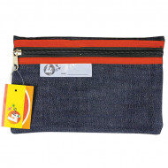 4 Kids Clear Pencil Bag 22cm With Red Zip