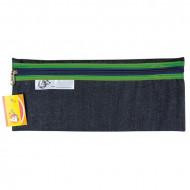 4 Kids Clear Pencil Bag 33cm With Green Zip