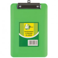 4 Office A5 Transparent Clipboard Green