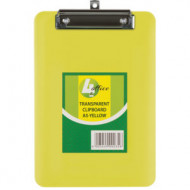 4 Office A5 Transparent Clipboard Yellow