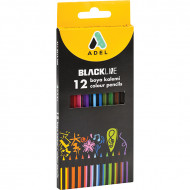 Adel Blackline Colour Pencils 12's
